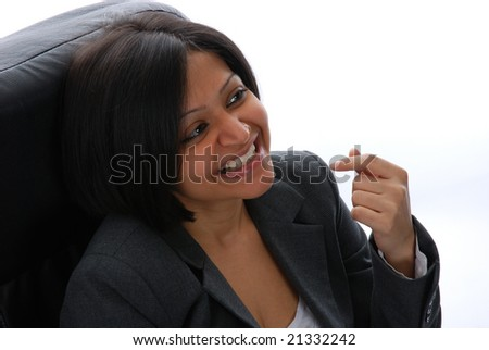 Closeup portrait of one indian business woman - stock photo