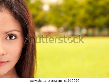 Closeup portrait of pretty girl with huge space for your message. - stock photo