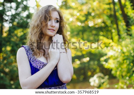 Closeup portrait of pretty woman  - stock photo
