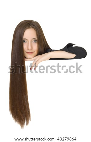 Closeup portrait of pretty  young woman with long hair  isolated over white background - stock photo