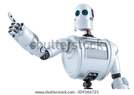 Closeup portrait of robot pointing at invisible object. Isolated over white. Contains clipping path
