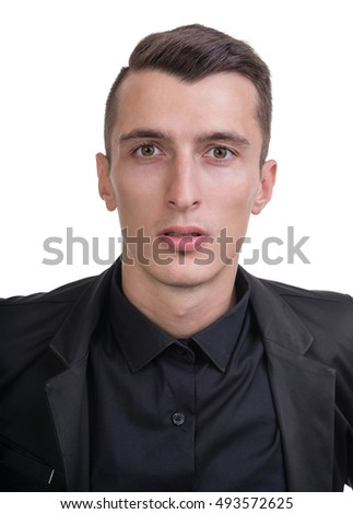 Closeup portrait of sad and depressed man isolated on white