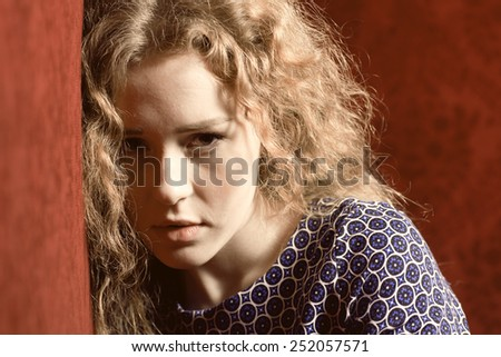 Closeup portrait of sad, depressed, stressed, thoughtful young woman, full of worries, looking at you. Human face expressions, emotions, feelings, reaction, attitude - stock photo
