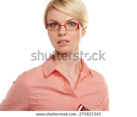 Closeup portrait of scandinavian young blonde businesswoman. - stock photo