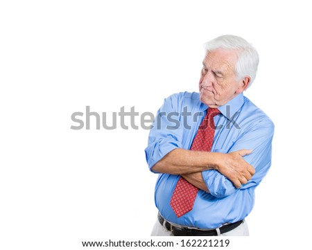 Closeup portrait of senior elderly mature man, boss trying to remember something in deep thought and worried, isolated on white background with copy space. Negative human emotions facial expressions - stock photo