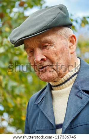 Closeup portrait of senior mature man