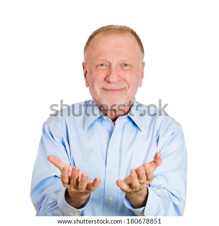 Closeup portrait of senior mature man, smiling, happy excited with raised up palms arms at you offering something, isolated over white background. Positive emotion facial expression signs symbols - stock photo