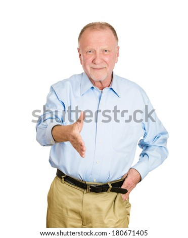 Closeup portrait of senior mature. smiling man giving extending arm for handshake at you camera gesture isolated on white background. Positive emotion facial expression feeling, attitude, perception