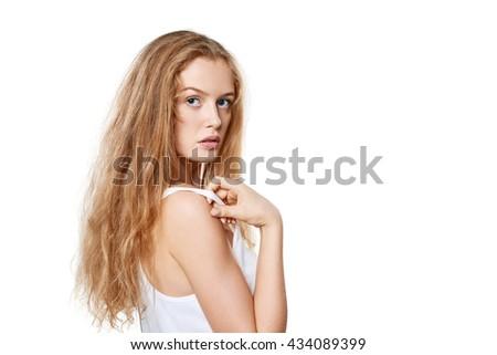 Closeup portrait of sensual beautiful blond woman on white - stock photo