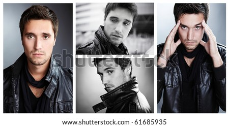 Closeup portrait of sensual man with beautiful face and eyes. Ð¡ollage from 4 photos. - stock photo