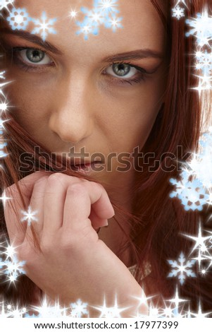 closeup portrait of sensual redhead with long hair - stock photo