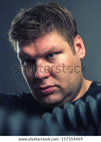 Closeup portrait of serious man - stock photo