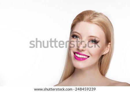 closeup portrait of sexy smiling caucasian young woman model with glamour pink lips,bright makeup, smokey eyes makeup. Perfect clean skin. white teeth  - stock photo