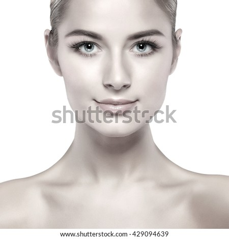 Closeup portrait of sexy whiteheaded young woman with beautiful blue eyes isolated on a white background, emotions, cosmetics - stock photo