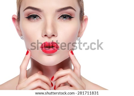 Closeup portrait of sexy whiteheaded young woman with beautiful red lips on white background - stock photo