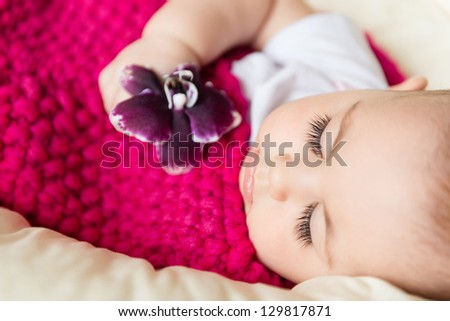 Closeup portrait of sleeping baby with flower in hand