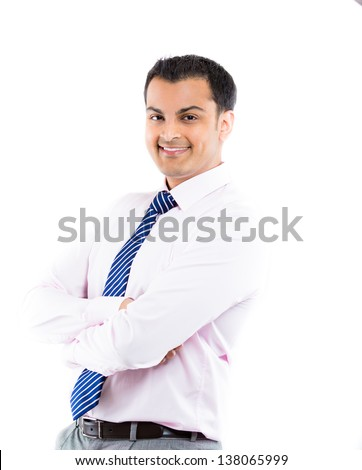 Closeup portrait of smart business man smiling with hands folded, isolated on white background - stock photo