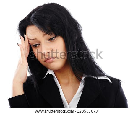 Closeup portrait of stressed businesswoman having a migraine. Isolated on white background - stock photo