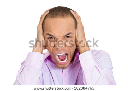 Closeup portrait of stressed, frustrated student, crazy mad man, screaming, having panic attack, isolated on white background. Negative human face expressions, emotions, feelings, attitude, perception - stock photo