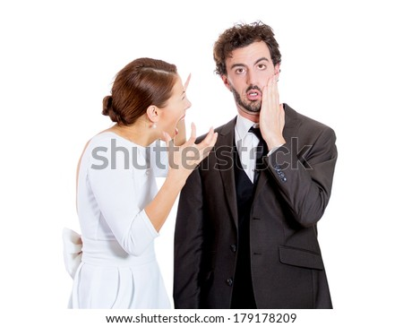 Closeup portrait of stressed young couple going through hard times in relationship, isolated on white background. Upset, angry wife, girlfriend, woman screaming at annoyed, depressed sad, business man - stock photo