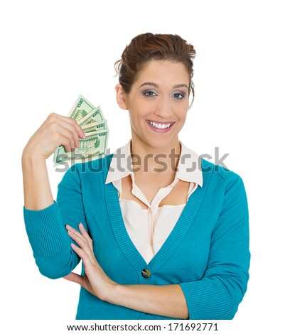 Closeup portrait of super happy excited successful young woman holding money dollar bills in hand, isolated on white background. Positive emotions, facial expression, feeling. Financial reward savings - stock photo