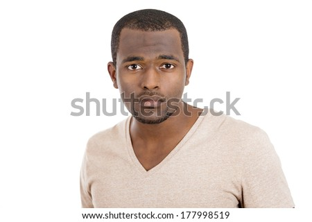Closeup portrait of surprised, puzzled, scared young handsome man, student, worker, employee, staring at you camera with question on his face, isolated on white background. Human face expressions  - stock photo