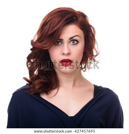 Closeup portrait of surprised young lady isolated on white