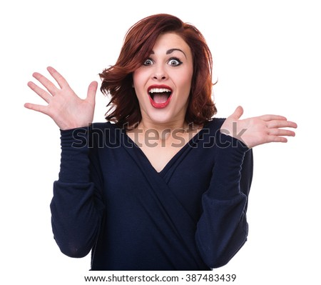 Closeup portrait of surprised young lady isolated on white with copyspace - stock photo