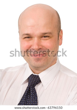 closeup portrait of the bald-headed man on a white background