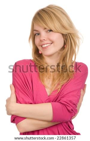 closeup portrait of the beautiful blond woman - stock photo