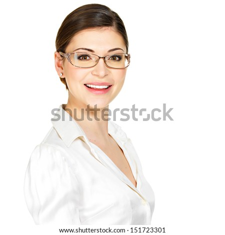 Closeup portrait of the beautiful happy young  woman in glasses and white office shirt- isolated on white background