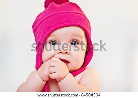 closeup portrait of the cute  baby - stock photo