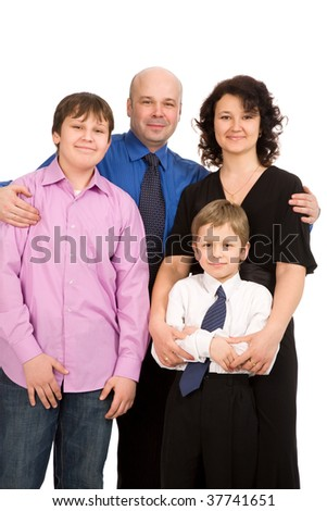 closeup portrait of the happy family isolated on white background - stock photo