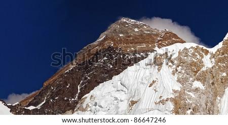 Closeup portrait of the Mount Everest (8848 m) - Nepal, Himalayas - stock photo