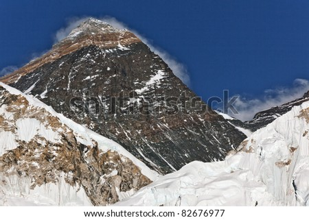 Closeup portrait of the Mount Everest (the highest mountain on Earth 8848 m) - Nepal, Himalayas - stock photo