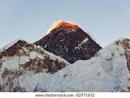 Closeup portrait of the Mount Everest (the highest peak in the world 8848 m) - Nepal, Himalayas - stock photo