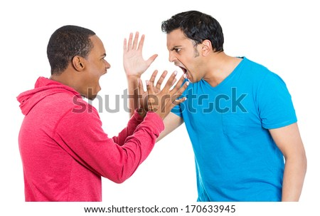 Closeup portrait of two angry mad men yelling screaming shouting at each other blaming for problems, isolated on white background. Interpersonal conflict. Negative emotions facial expression feeling - stock photo
