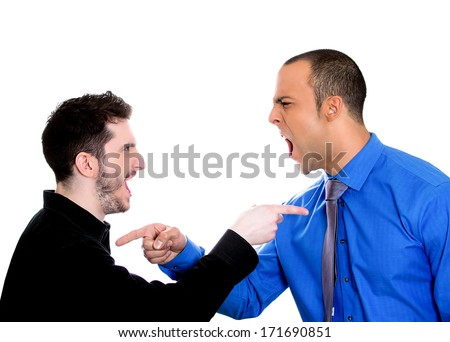 Closeup portrait of two angry men pointing fingers at each other blaming for problems, isolated on white background. Interpersonal conflict. Negative emotions facial expression feeling, body language - stock photo