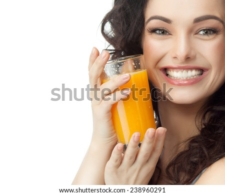 closeup portrait of two attractive  caucasian smiling woman brunette isolated on white studio shot lips toothy smile face hair head and shoulders looking at camera tooth - stock photo