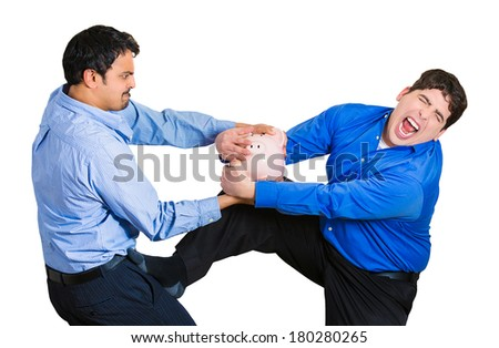 Closeup portrait of two funny looking men, one trying to steal piggy bank from guy holding it tightly, trying to protect his savings, isolated on white background. Financial fraud, robbery. Emotions - stock photo