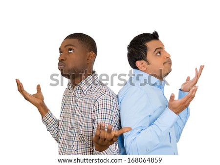 Closeup portrait of two men back to back putting hands in air looking up in frustration, isolated on white background. Negative human emotion facial expression feelings. Miscommunication conflict - stock photo