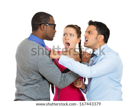 Closeup portrait of two men fighting over a woman caught in middle, isolated on white background.  Relationship and society conflict, problems, issues. Negative emotion facial expression feelings - stock photo