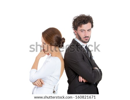 Closeup portrait of two people, couple woman and man, back to back, very sad, disappointed with each other, isolated on white background. Marriage, relationship problems. Human emotions, expressions - stock photo