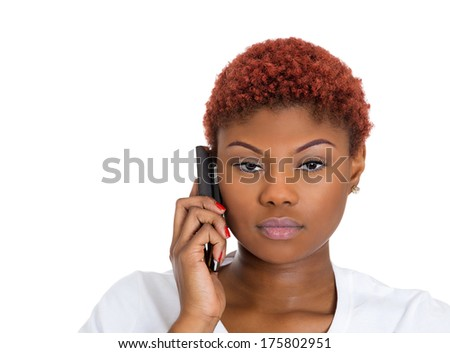 Closeup portrait of upset, sad, depressed, unhappy worried young woman talking on the phone, isolated on white background. Negative human emotions, facial expressions, feelings, reaction. Bad news. - stock photo