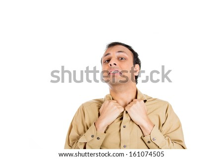 Closeup portrait of uptight man in brown shirt hanging on to collar because he is in a bad situation and it is getting hot in here isolated on white background with copy space. Negative human emotions - stock photo