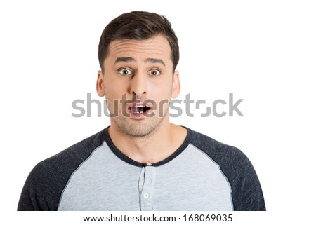 Closeup portrait of wild, goofy, crazy, funny, shocked surprised stunned young man face with eyes wide open mouth, isolated on white background. Positive human emotion facial expression - stock photo