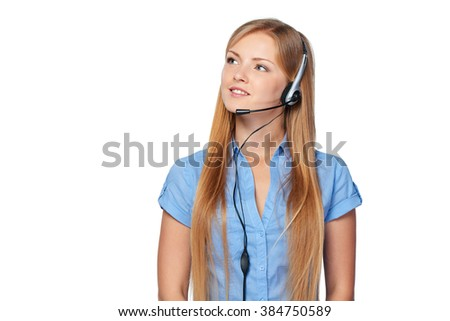 Closeup portrait of woman support phone operator in headset smiling looking at blank copy space, isolated on white - stock photo