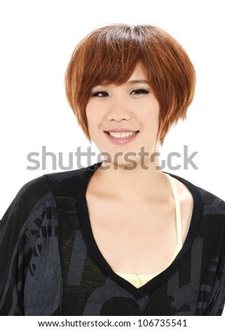 Closeup portrait of yong woman posing in studio - stock photo