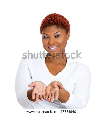 Closeup portrait of young beautiful smiling, happy excited woman with raised up palms, arms at you offering something, isolated on white background. Positive emotions, facial expressions signs symbols - stock photo