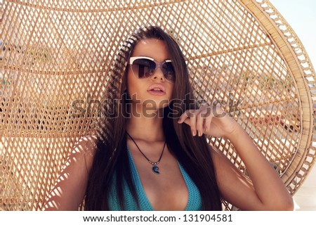 closeup portrait of young beautiful tanned girl - stock photo